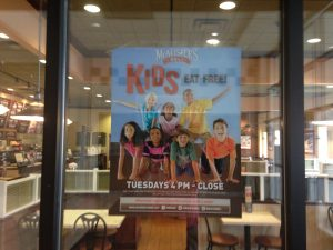 Poster promoting their brand to children, with a children's program.