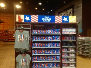 Branding display in Hershey Chocolate World, Hersey, PA promoting summer and their products.