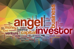 Angel investor word cloud concept with abstract background